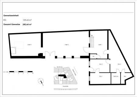 Grundriss Halle/Büro